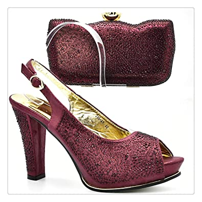 2f28c8cf66ec6 Amazon.com: Wine Color Italian Shoes with Matching Bags Shoes and ...