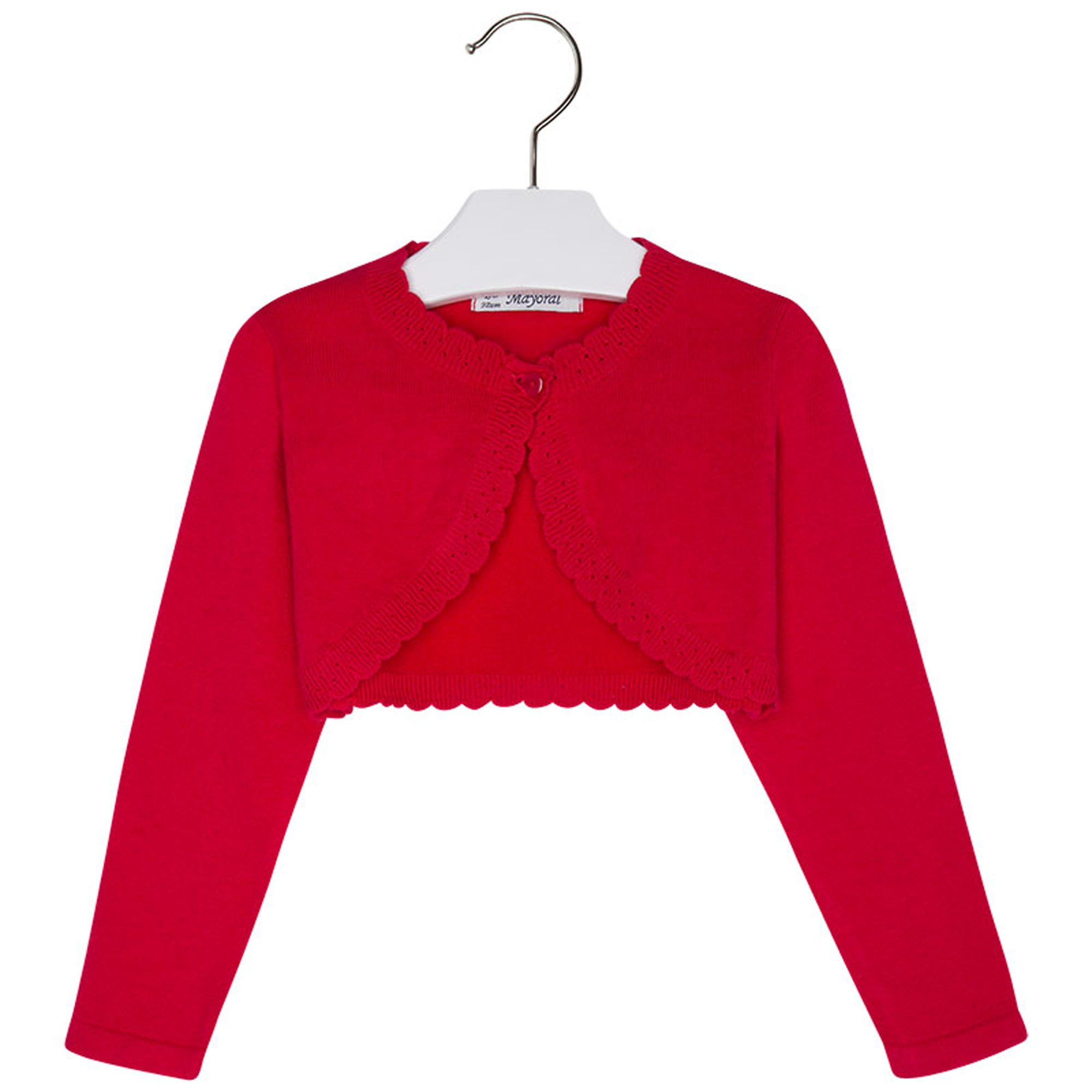 Mayoral Girls 2T-9 Red Scallop Edge Knit Shrug Cardigan Sweater, Red,3