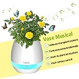 Vase Magique Musicale Multifonction 4-en-1 : Chantant Piano en Touchant & Musique player via Haut-Parleur Bluetooth & Veilleuse Lumières Blanc/Colorés & Pot de Fleurs Sphérique, Blanc