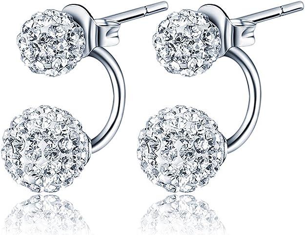 Infinite U 925 Sterling Silver Austria Crystal 8mm Ball Studs Earrings for Women//Girls Gift