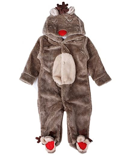 0928950838a2 Amazon.com  Brcus Baby Footed Onesie Pajamas Reindeer Cosplay Hoodie ...