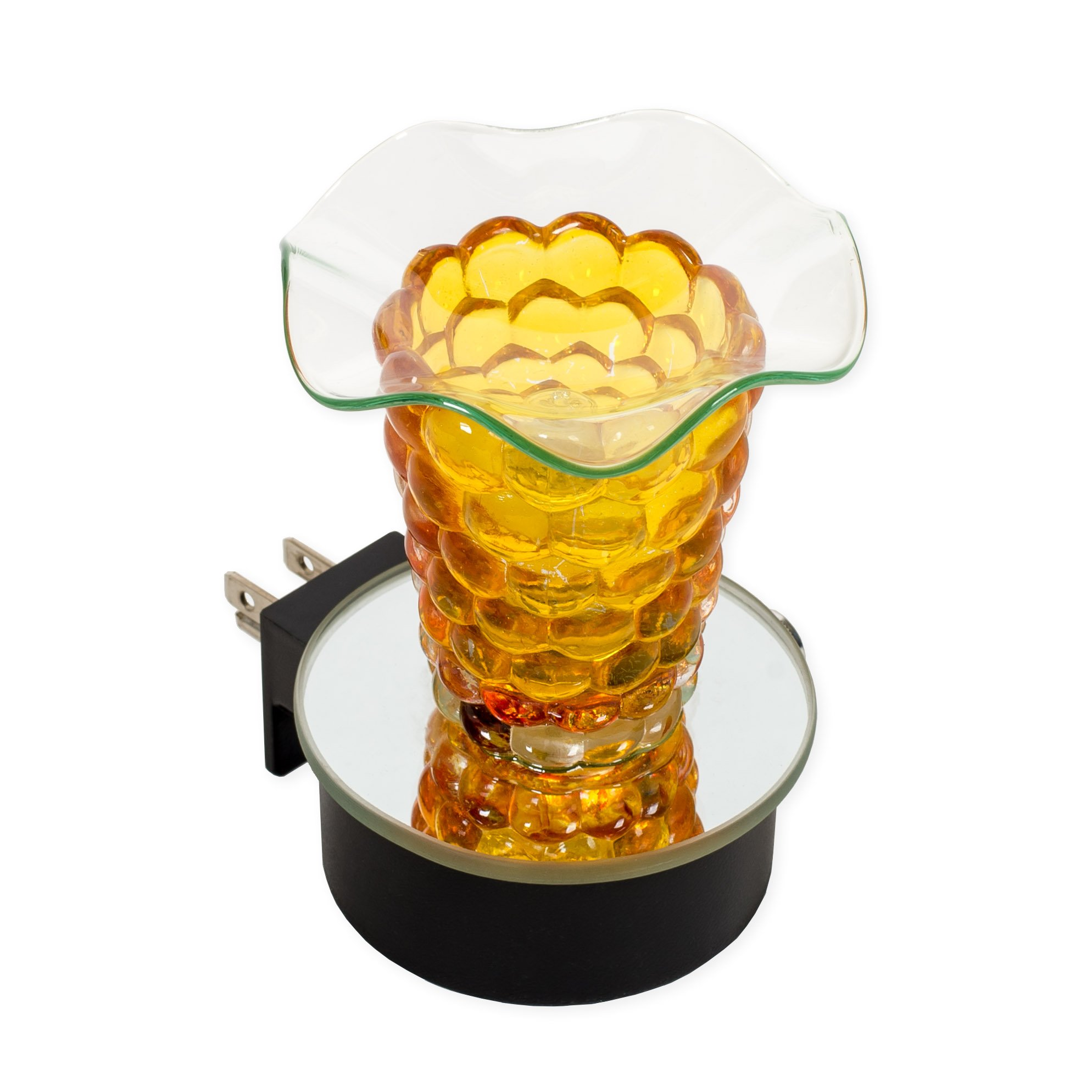 Yellow 3 x 4 Glass Electric Wall Plug-In Oil Burner with Dimmer Switch