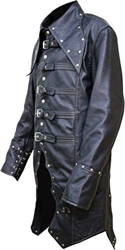 Mans New Punk Rave Mens Steampunk Vampire Jacket Coat Black Goth Punk Cow Leather Military Coat,XXS-3XL