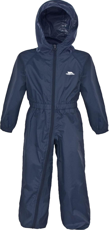 Trespass Button Unisex Waterproof All In One Rainsuit Navy Blue 18-24 Months