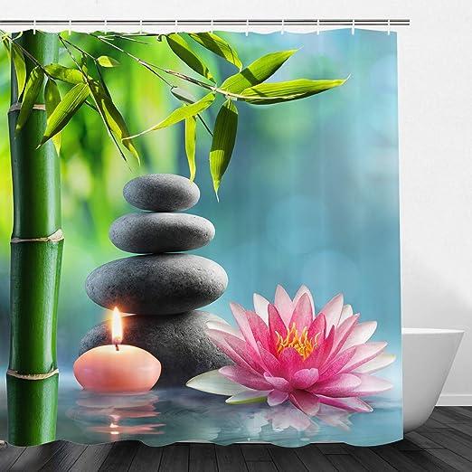 Amazon Com Vimmucir Spa Decor Fabric Shower Curtain Lotus Flower