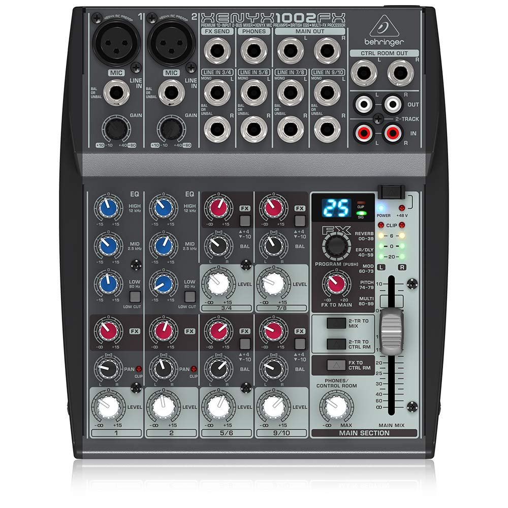 Behringer Xenyx 1002FX Premium 10-Input 2-Bus Mixer with XENYX Mic Preamps, British EQs and Multi-FX Processor 71hgsrfr6bL._SL1000_