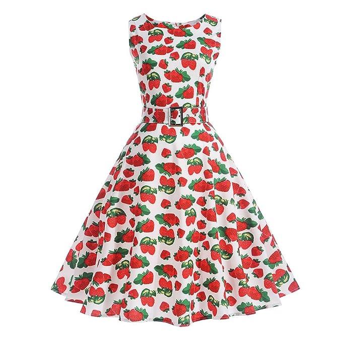 Xinantime_Vestido Vestido de Mujer, Mangas Floral de Las Mujeres del Vintage Vestido de Fiesta Informal Vestido de oscilación de Baile: Amazon.es: Ropa y ...