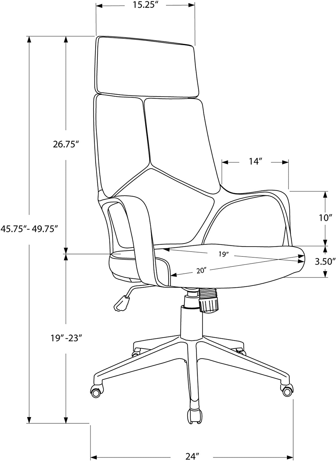 Monarch Specialties Office Chair Black//Brown Leather-Look//Executive