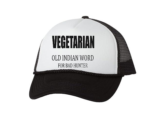 Funny Hunting Hat Vegetarian Old Indian Word For Bad Hunter Baseball Cap  Trucker Hunt (Black ad0f90c4171