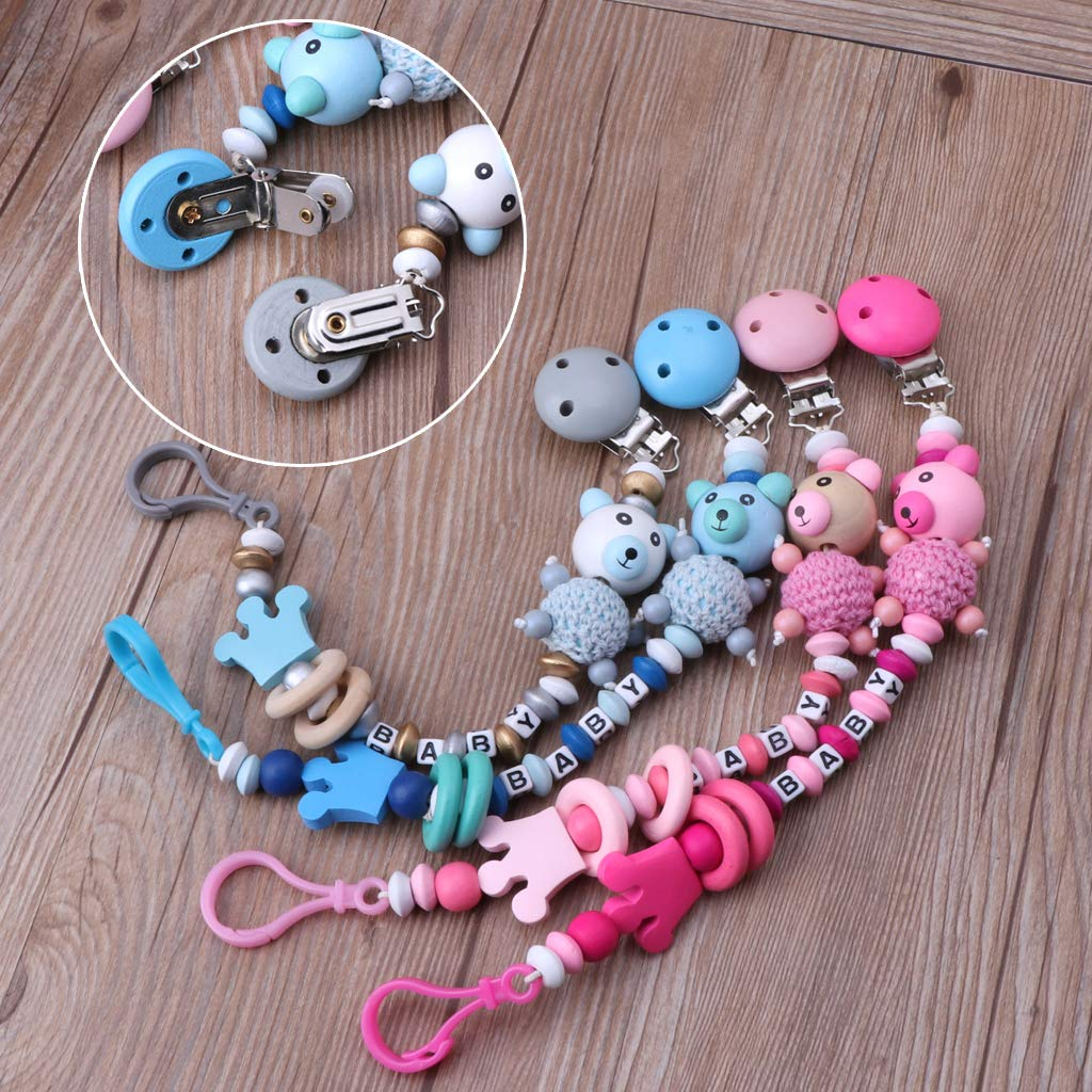 Tvvudwxx Dummy Clip Baby Schnuller Clips Bei/ßring B/är Schnullerkette Halter Kinderkrankheiten Spielzeug Relief Schmerzen Dusche Geschenk