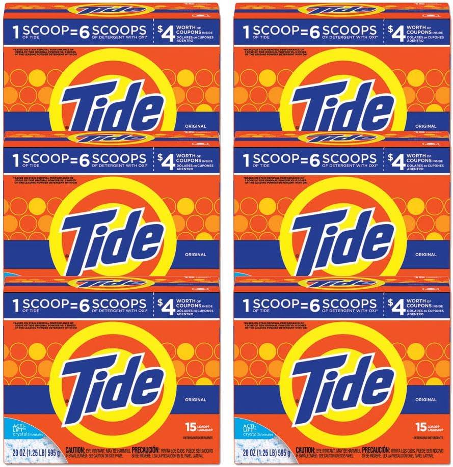 Tide 81244 Powder Laundry Detergent, Original Scent, 20 oz Box, 6/Carton