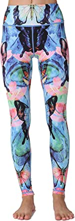 Whitewed Japanese Crane Print Athletic Yoga Workout Gym Leggings Tight for Women