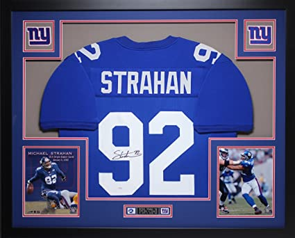 huge selection of 10b2e 06b38 Michael Strahan Autographed Blue Giants Jersey - Beautifully ...