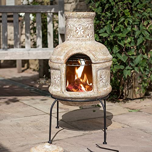 Straw Coloured Two Part Chimenea With Star Flower Design Including a Chrome Plated Cooking Grill Great for Campfire Cooking