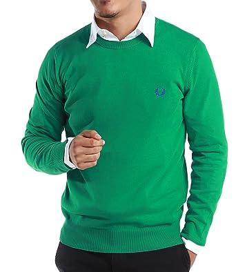 Fred Perry Verde Etiqueta de Hombre Classic Sudadera con Cuello ...