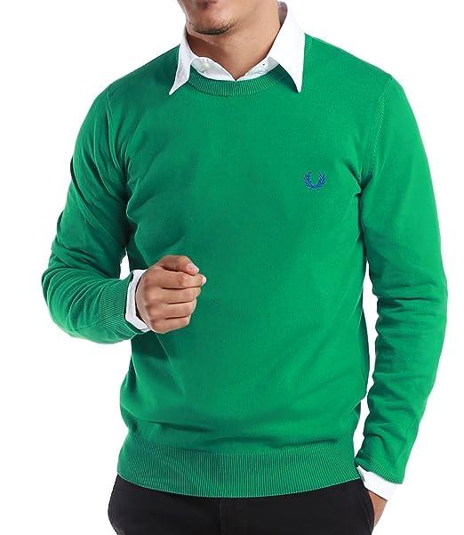 Fred Perry verde etiqueta de hombre Classic sudadera con cuello redondo - fabricado en Italia Verde verde Small: Amazon.es: Ropa y accesorios