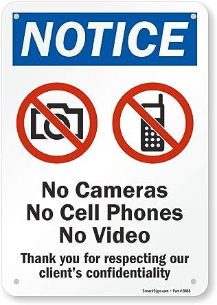 Señal de seguridad SmartSign, leyenda aviso: No cámaras no teléfonos móviles NO vídeo con