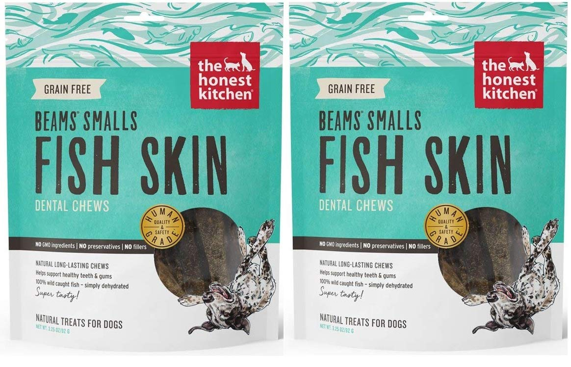 The Honest Kitchen Beams Fish Skin Treat - Dehydrated Grain Free Fish Skins Dog Chew, Smalls 6.5 oz