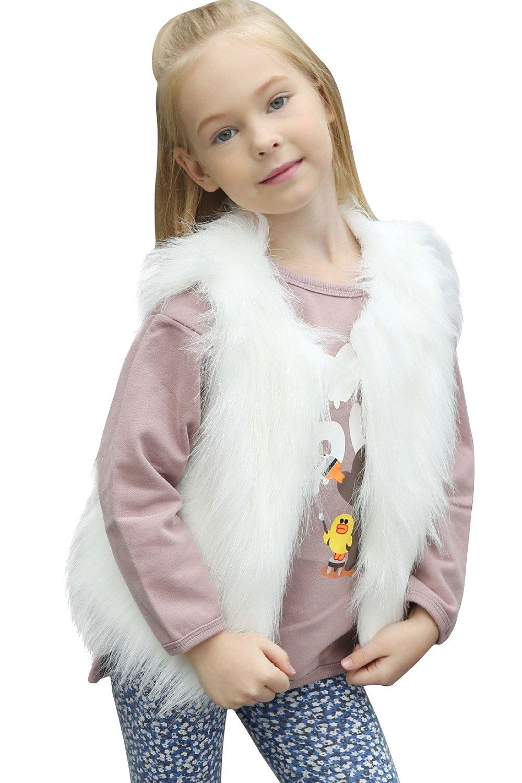 Baby Girls Winter Faux Fur Waistcoat Sleeveless Short Vest Gilet Outerwear Coat
