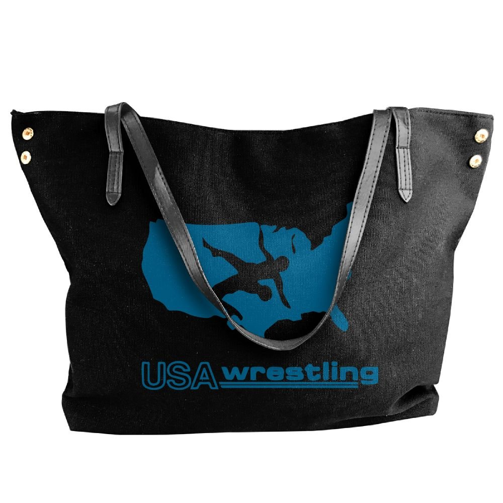 Women Canvas Tote Bag,USA Wrestling Casual Shoppingbags For Ladies