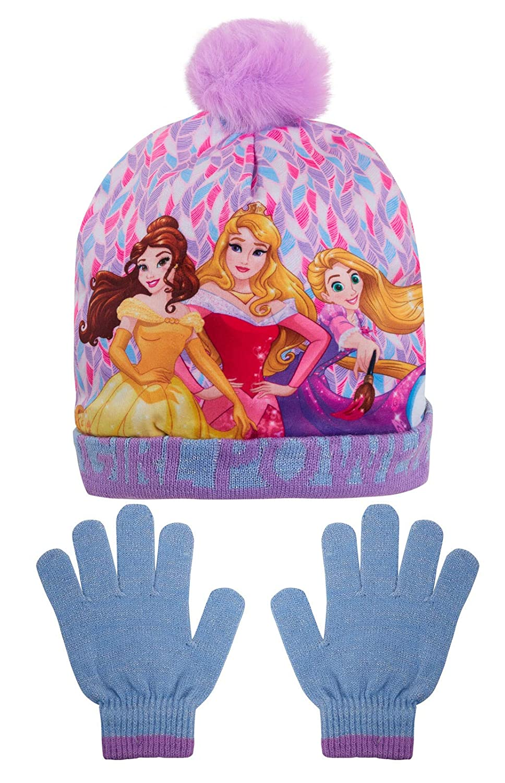 Disney Girls Princess Bobble Hat Glitter Girl Power Woolly Winter Set Regalo di Natale