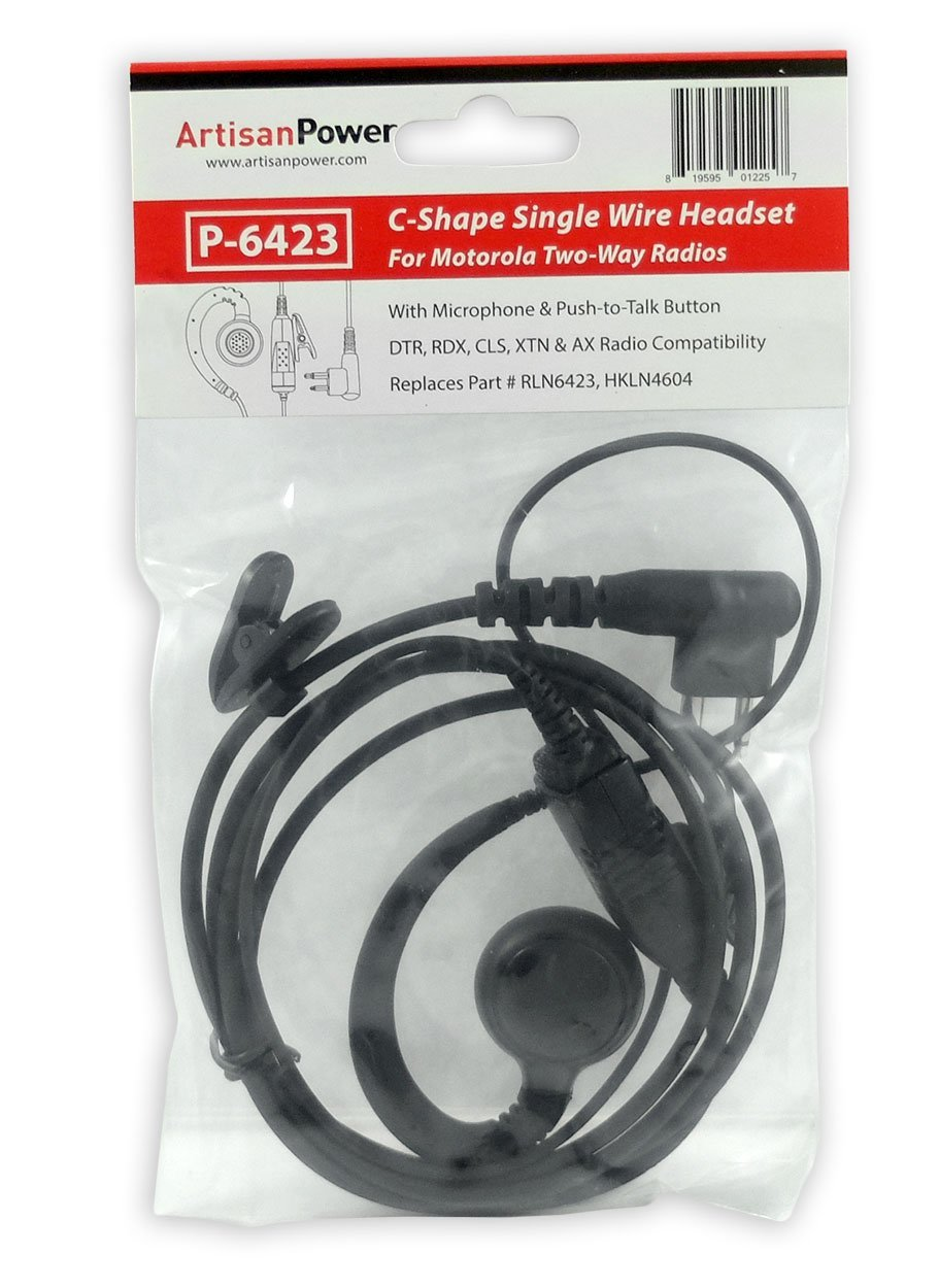 Artisan Power P-6536 Surveillance Headset with Removable Translucent Acoustic Tube Earpiece 2-Wire PTT and 2 Pin Connector for Motorola Radios RLN5318 RLN5318A