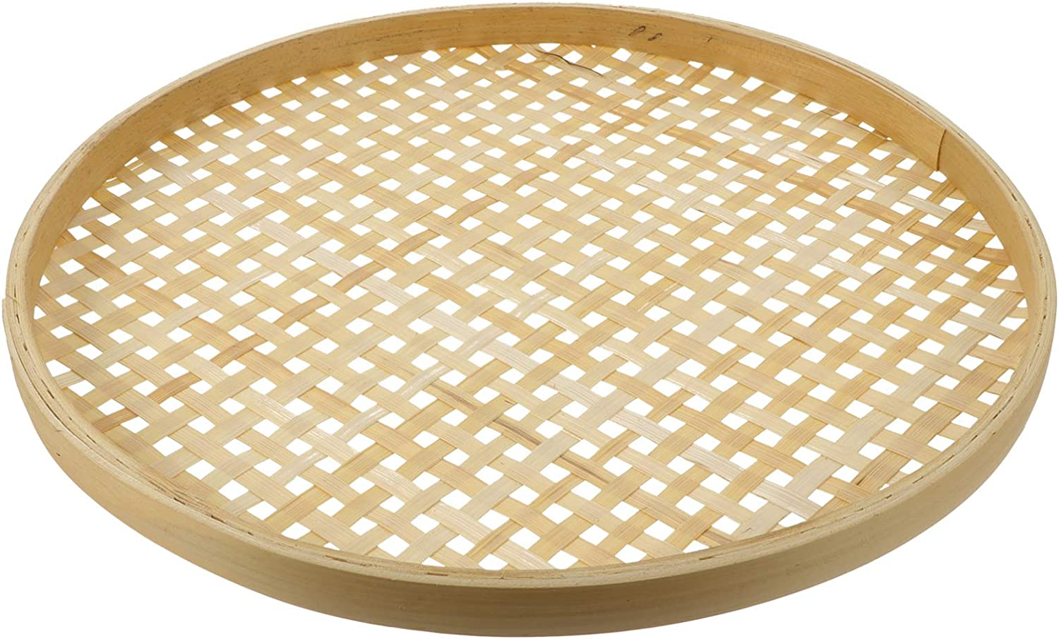 DOITOOL Round Woven Bamboo Basket Tray Bamboo Sieve Flat Shallow Drying Food Fruit Basket Dome Lid Cover for DIY Wall Hanging Decorations Indoor Outdoor 26CM
