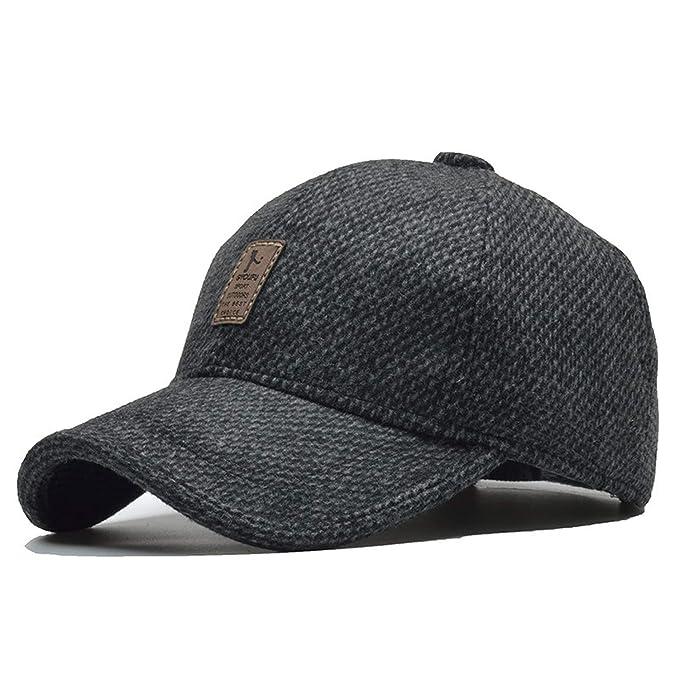 FUZE Baseball Cap Men Snapback Hat with Earflap Trucker Cap Gorras Men Cap Winter Black
