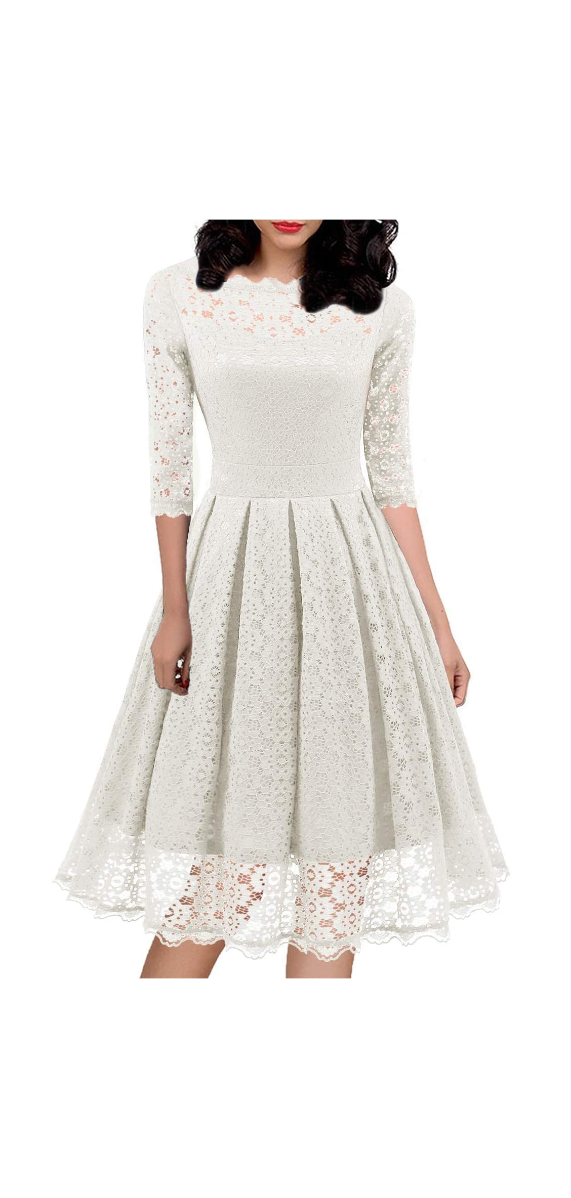 Women's S Vintage Floral Lace Half Sleeve Formal Cocktail