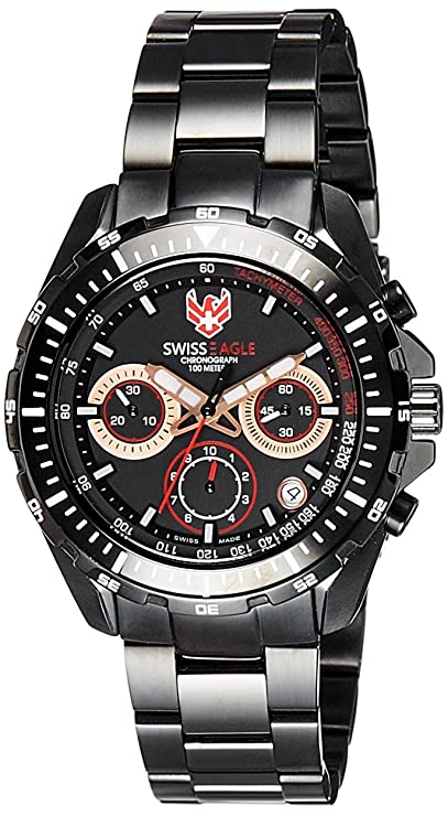 Swiss Eagle Analog Black Dial Men's Watch-SE-9084B-IPB-0I-SM Men's Watches at amazon