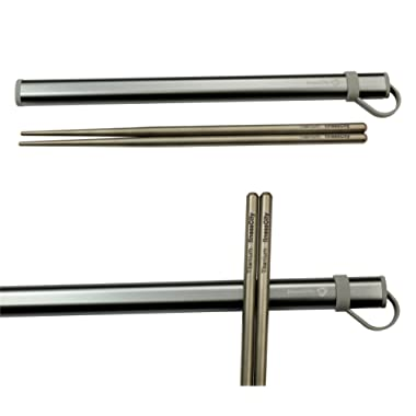 finessCity Titanium Chopsticks with Aluminium Case - Grey