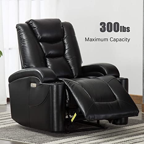 Brilliant Anj Electric Power Recliner Chair For Living Room Breathable Bonded Leather Classic And Traditional Single Sofa Seat Home Theater Seating With Cup Cjindustries Chair Design For Home Cjindustriesco