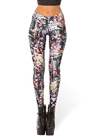 lady queen womens nightmare before christmas stretch skinny leggings pants m multicolor - Nightmare Before Christmas Leggings