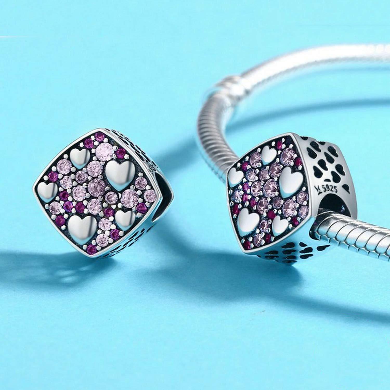 EverReena Beads Square Valentine HeartPink Crystal Charm for Silver Bracelets
