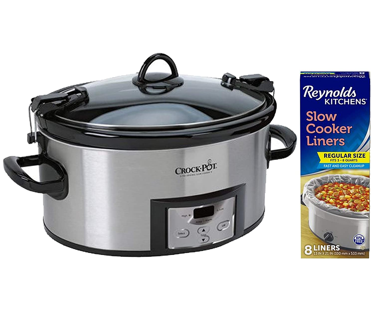 Crock-Pot Cook and Carry Programmable 6 Quart Slow Cooker with Digital Timer, Stainless Steel bundle with Reynolds Kitchens Slow Cooker Liners, 13 Inches by 21 Inches, 8 Count