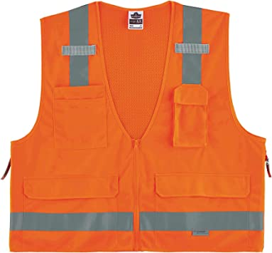 Ergodyne GloWear 8250Z ANSI Orange Surveyors Reflective Safety Vest with Back Pocket, Large/X-Large