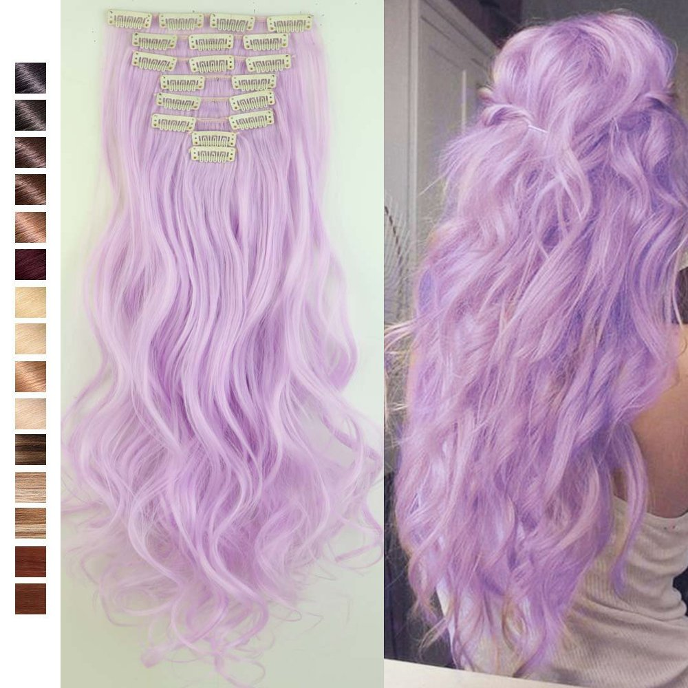 S-noilite 24 inches Long Curly Full Head Clip in Synthetic Hair Extensions 8pcs 170g (24''-Curly, Light Purple)