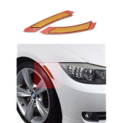 Haneex Crystal Clear/Smoke/Amber/Dark Grey/Red Lens Front Bumper Side Markers Reflector Light Fender Replacement for BMW 3 Series E90 / E91 LCI (Amber Lens): Automotive