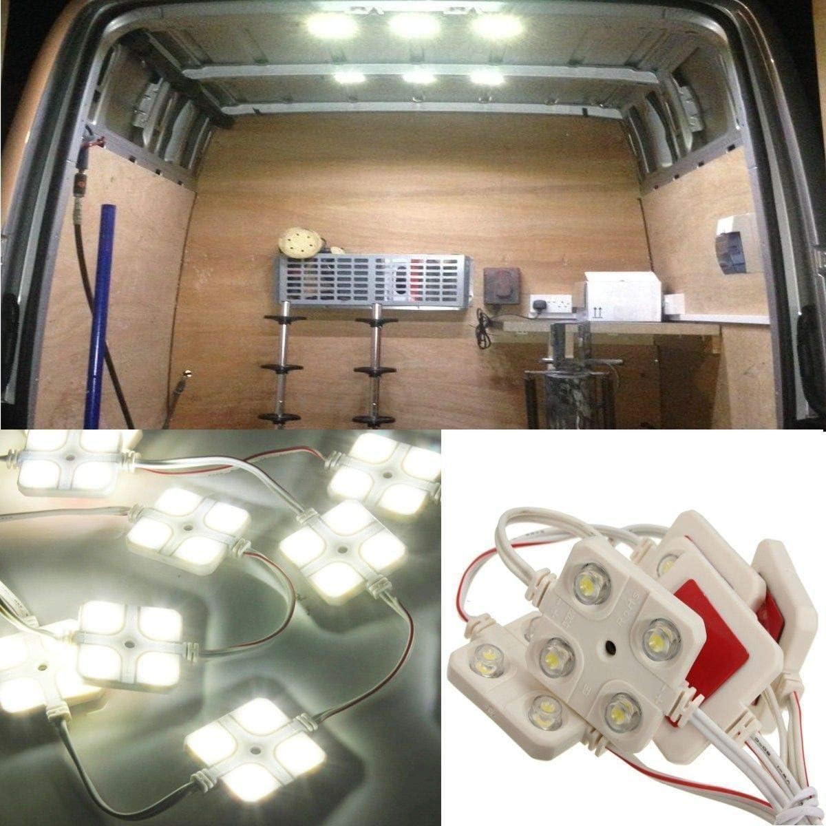 Camper Caravan Camper Bianco Plafoniera DC 12V HugeAuto Luce LED Interni 40 LED Luci Interni Auto Kit Ultra Luminoso Progetto Lente Illuminazione Luce di lavoro per Camion Kit Veicolo