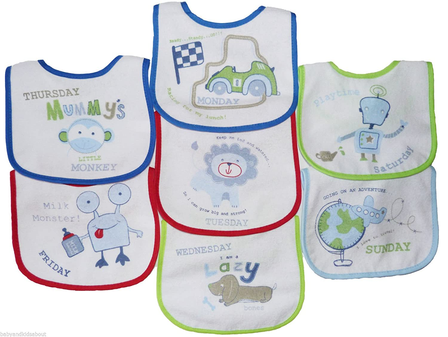 BabyPrem Baby Pack of 7 Bibs Days of the Week Velcro Pink Boys Girls BLUE 1 BW104-673