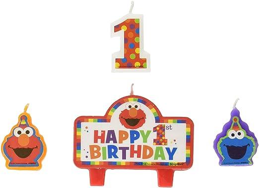 Elmo 1st cumpleaños velas 4 Count suministros Elmo Barrio ...