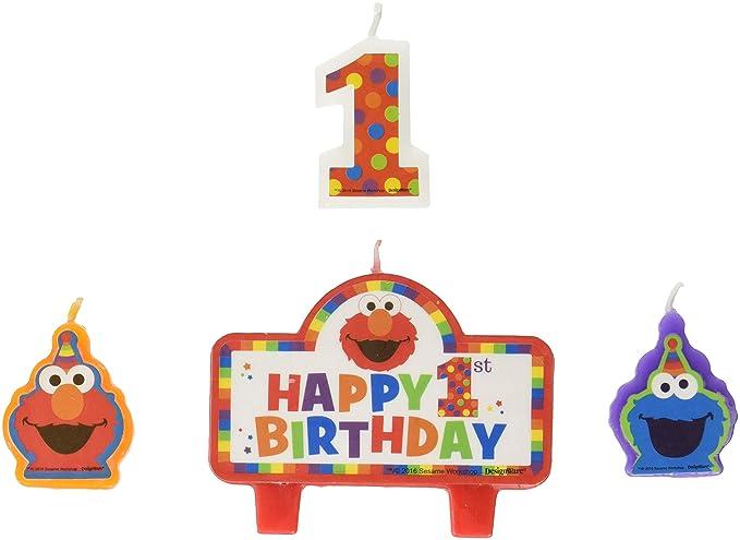 Elmo 1st cumpleaños velas 4 Count suministros Elmo Barrio Sésamo Fun to be one.: Amazon.es: Hogar