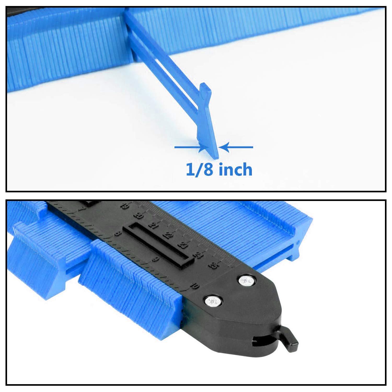 Aaaspark 2 Piezas Medidor de contornos con cerradura Ideal para Azulejos Edge Shaping Madera Medida /& Azulejos laminados Herramienta de Medici/ón de Perfil Irregular Verde 12cm/&25cm