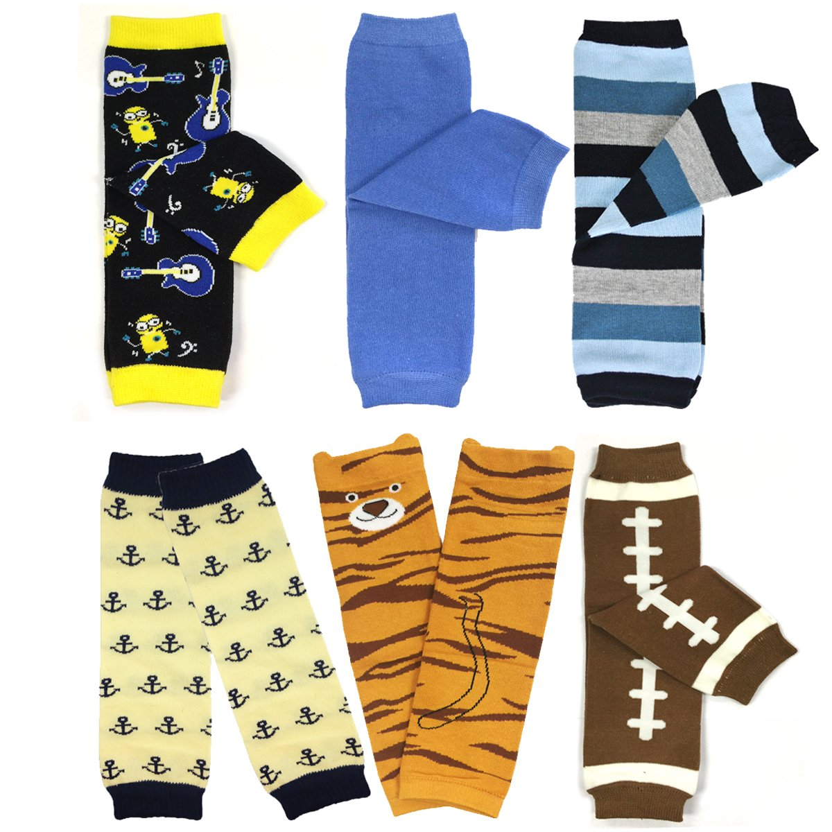 Bowbear Baby & Toddler Boys Set of 6 Assorted Leg Warmers, BS01 by Bowbear
