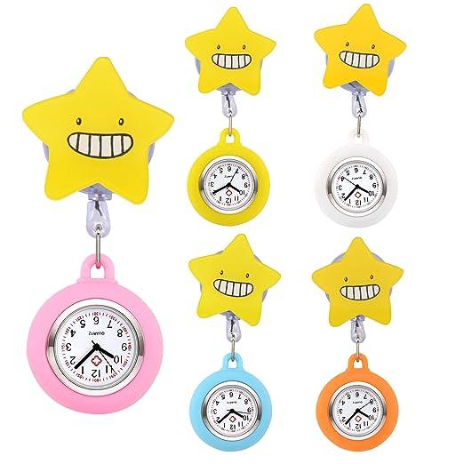 manifo Juego de 5 Enfermera Reloj Sonrisa Emoji Dibujos Animados Estrella Hermana Reloj Cuidado Reloj Silicona Reloj de Bolsillo broschenuhr Reloj de Cuarzo ...