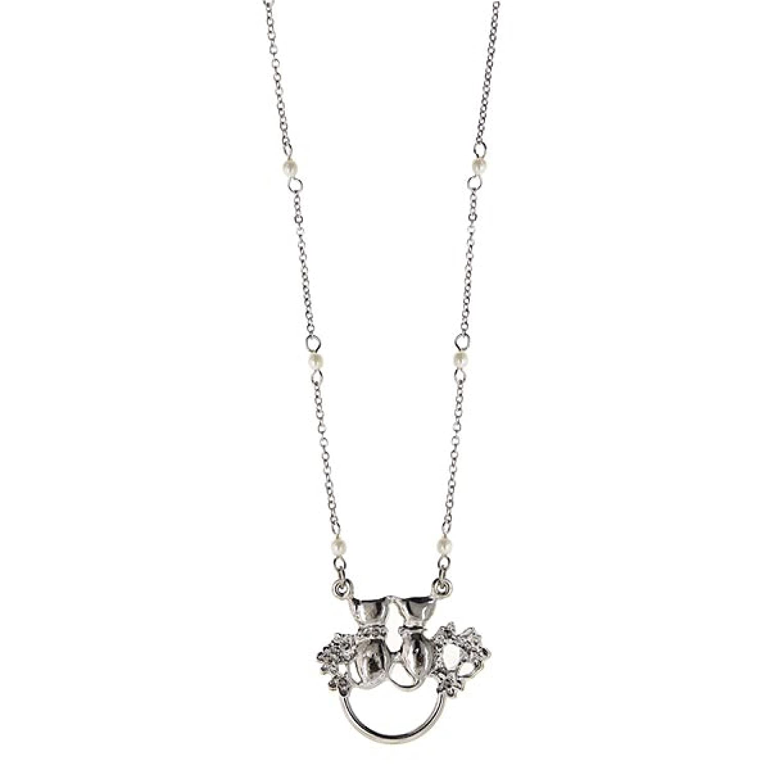 Silver-Tone Simulated Pearl Chain Double Cats Eyeglass/Badge Holder Necklace N28 1928 Jewelry Company 51516