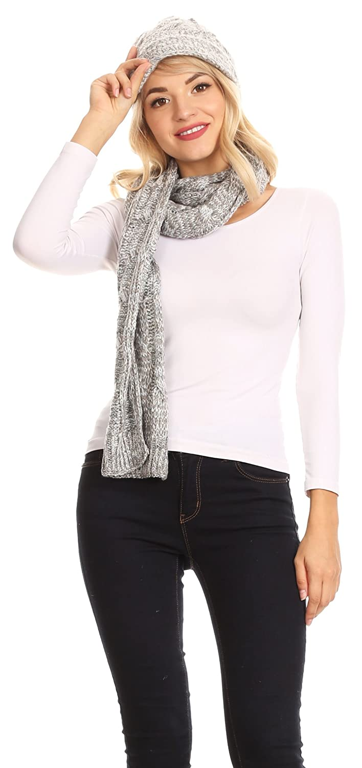 Sakkas 1757 Black Coline Soft Heather Chunky Cable knit Hat and Scarf Set Warm Cozy Winter OS