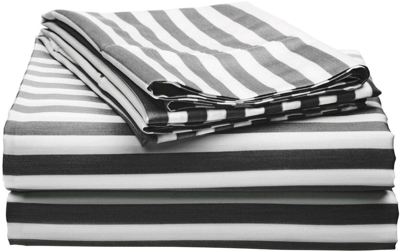 Amazon.com: Cotton Blend 600 Thread Count, Deep Pocket, Soft, Wrinkle  Resistant 3 Piece Twin Bed Sheet Set, Cabana Stripe Black: Home U0026 Kitchen
