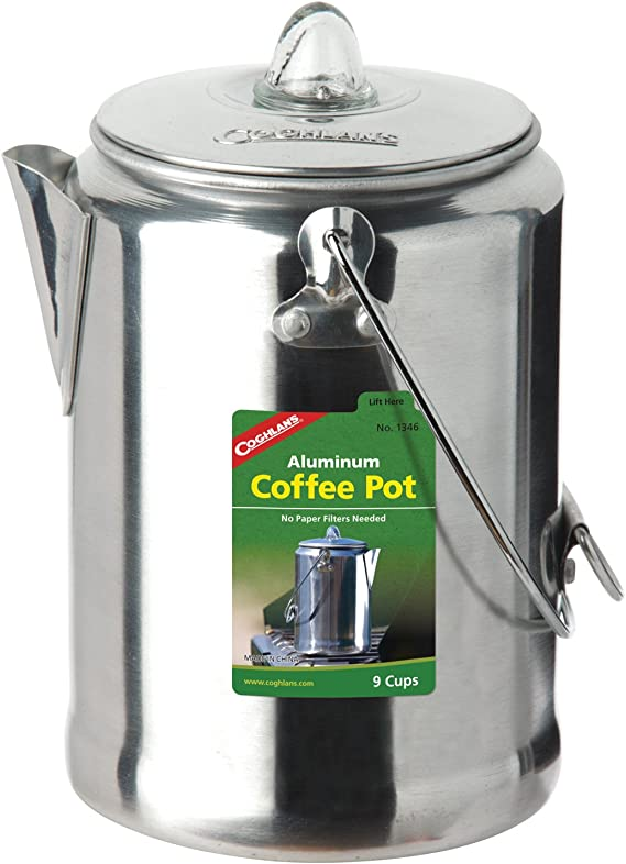 Brew Coffee On Stovetop 9 Cup Aluminum Stove Top Percolator Maker Durable
