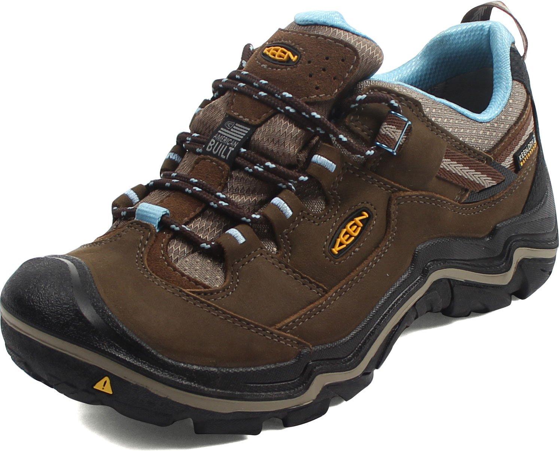 KEEN Women's Durand Low Waterproof Hiking Shoe, Dark Earth/Alaskan Blue, 8 M US